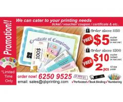 ticket / voucher/ coupon / certificate & etc.. Printing Promotion! limited time only!